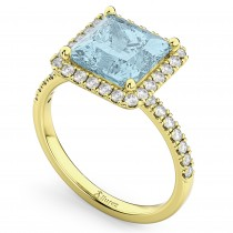 Princess Cut Halo Aquamarine & Diamond Engagement Ring 14K Yellow Gold 3.47ct