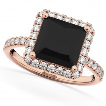 Princess Cut Halo Black Diamond Engagement Ring 14K Rose Gold (3.58ct)