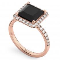 Princess Cut Halo Black Diamond Engagement Ring 14K Rose Gold (3.58ct)
