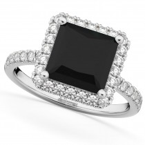 Princess Cut Halo Black Diamond Engagement Ring 14K White Gold (3.58ct)