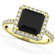 Square Cut Halo Black Diamond & Diamond Engagement Ring 14K Yellow Gold 3.58ct