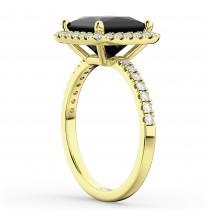Princess Cut Halo Black Diamond Engagement Ring 14K Yellow Gold (3.58ct)