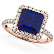 Princess Cut Halo Blue Sapphire & Diamond Engagement Ring 14K Rose Gold 3.47ct