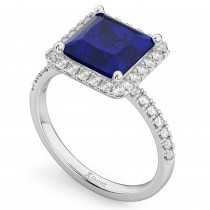 Princess Cut Halo Blue Sapphire & Diamond Engagement Ring 14K White Gold 3.47ct