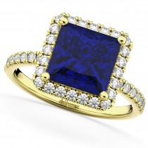 Princess Cut Halo Blue Sapphire & Diamond Engagement Ring 14K Yellow Gold 3.47ct