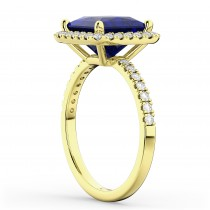 Princess Cut Halo Blue Sapphire & Diamond Engagement Ring 14K Yellow Gold 3.47ct