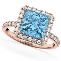 Square Cut Halo Blue Topaz & Diamond Engagement Ring 14K Rose Gold 3.47ct