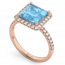 Princess Cut Halo Blue Topaz & Diamond Engagement Ring 14K Rose Gold 3.47ct