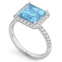 Princess Cut Halo Blue Topaz & Diamond Engagement Ring 14K White Gold 3.47ct