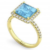 Princess Cut Halo Blue Topaz & Diamond Engagement Ring 14K Yellow Gold 3.47ct