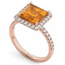 Princess Cut Halo Citrine & Diamond Engagement Ring 14K Rose Gold 3.47ct