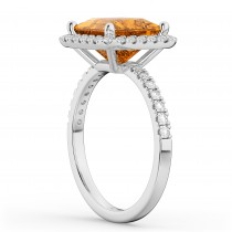 Princess Cut Halo Citrine & Diamond Engagement Ring 14K White Gold 3.47ct
