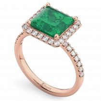 Princess Cut Halo Emerald & Diamond Engagement Ring 14K Rose Gold 3.57ct