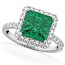 Square Cut Halo Emerald & Diamond Engagement Ring 14K White Gold 3.57ct