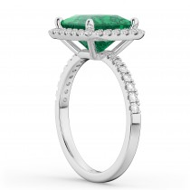 Princess Cut Halo Emerald & Diamond Engagement Ring 14K White Gold 3.57ct