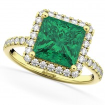 Princess Cut Halo Emerald & Diamond Engagement Ring 14K Yellow Gold 3.57ct