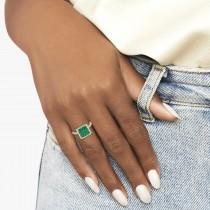 Princess Cut Halo Emerald & Diamond Engagement Ring 14K Yellow Gold 3.57ct