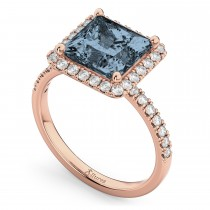Princess Cut Halo Gray Spinel & Diamond Engagement Ring 14K Rose Gold 3.47ct