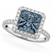 Princess Cut Halo Gray Spinel & Diamond Engagement Ring 14K White Gold 3.47ct