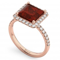 Princess Cut Halo Garnet & Diamond Engagement Ring 14K Rose Gold 3.47ct