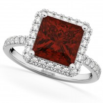 Princess Cut Halo Garnet & Diamond Engagement Ring 14K White Gold 3.47ct