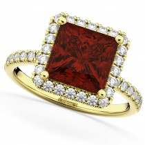 Princess Cut Halo Garnet & Diamond Engagement Ring 14K Yellow Gold 3.47ct