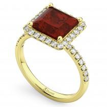 Princess Cut Halo Garnet & Diamond Engagement Ring 14K Yellow Gold 3.47ct