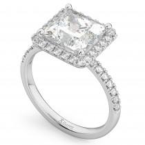 Princess Cut Halo Lab Grown Diamond Engagement Ring 14K White Gold (3.58ct)