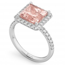 Princess Cut Halo Morganite & Diamond Engagement Ring 14K White Gold 3.47ct