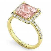 Princess Cut Halo Morganite & Diamond Engagement Ring 14K Yellow Gold 3.47ct