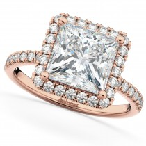 Princess Cut Halo Moissanite & Diamond Engagement Ring 14K Rose Gold 3.35ct