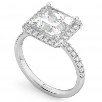 Princess Cut Halo Moissanite & Diamond Engagement Ring 14K White Gold 3.35ct
