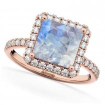 Princess Cut Halo Moonstone & Diamond Engagement Ring 14K Rose Gold 3.47ct