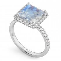 Princess Cut Halo Moonstone & Diamond Engagement Ring 14K White Gold 3.47ct