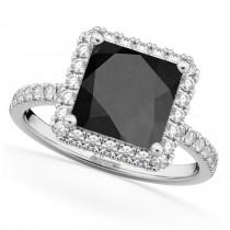 Princess Cut Halo Black Onyx & Diamond Engagement Ring 14K White Gold 3.47ct