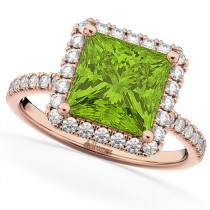 Princess Cut Halo Peridot & Diamond Engagement Ring 14K Rose Gold 3.47ct