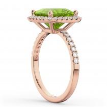 Princess Cut Halo Peridot & Diamond Engagement Ring 14K Rose Gold 3.47ct