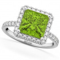 Princess Cut Halo Peridot & Diamond Engagement Ring 14K White Gold 3.47ct