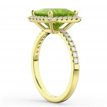 Princess Cut Halo Peridot & Diamond Engagement Ring 14K Yellow Gold 3.47ct