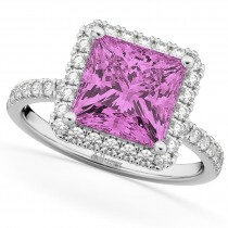 Princess Cut Halo Pink Sapphire & Diamond Engagement Ring 14K White Gold 3.47ct