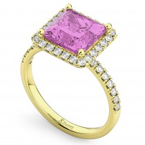 Princess Cut Halo Pink Sapphire & Diamond Engagement Ring 14K Yellow Gold 3.47ct