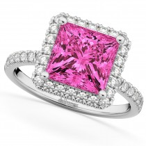 Princess Cut Halo Pink Tourmaline & Diamond Engagement Ring 14K White Gold 3.47ct