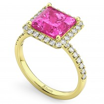 Princess Cut Halo Pink Tourmaline & Diamond Engagement Ring 14K Yellow Gold 3.47ct