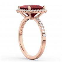 Princess Cut Halo Ruby & Diamond Engagement Ring 14K Rose Gold 3.47ct