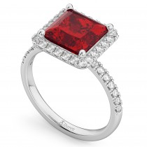 Princess Cut Halo Ruby & Diamond Engagement Ring 14K White Gold 3.47ct
