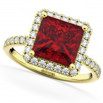 Princess Cut Halo Ruby & Diamond Engagement Ring 14K Yellow Gold 3.47ct