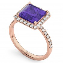 Princess Cut Halo Tanzanite & Diamond Engagement Ring 14K Rose Gold 3.47ct