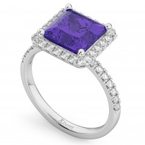 Princess Cut Halo Tanzanite & Diamond Engagement Ring 14K White Gold 3.47ct