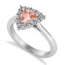 Diamond & Morganite Trillion Cut Ring 14k White Gold (1.24ct)