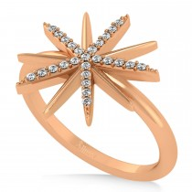Diamond Accented Starburst Fashion Ring 14k Rose Gold (0.13ct)